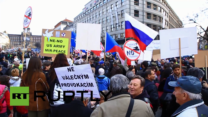 "Anti-NATO demonstrators protest against the US Army's ""Dragoon Ride"" military exercise in Prague March 28, 2015 (A still from Ruptly video)"